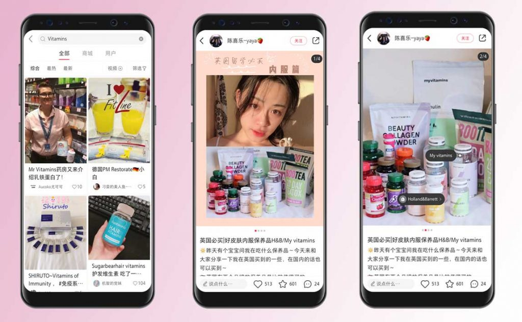 sell vitamins in china - chinese kols on little red book app